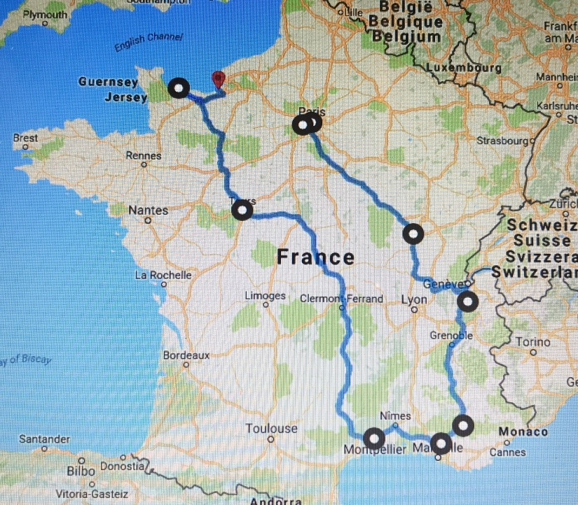 Our route in France